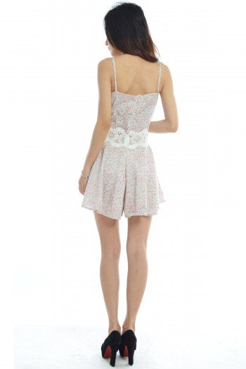 Crochet Floral Pleated Romper