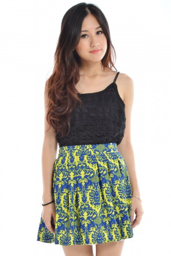 Baroque Print Pleated Skirt