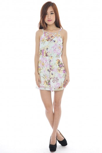 Reversible Lattice Floral Romper
