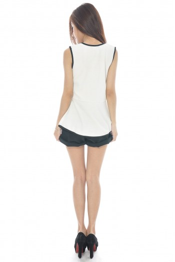 Contrast Piping Peplum Top