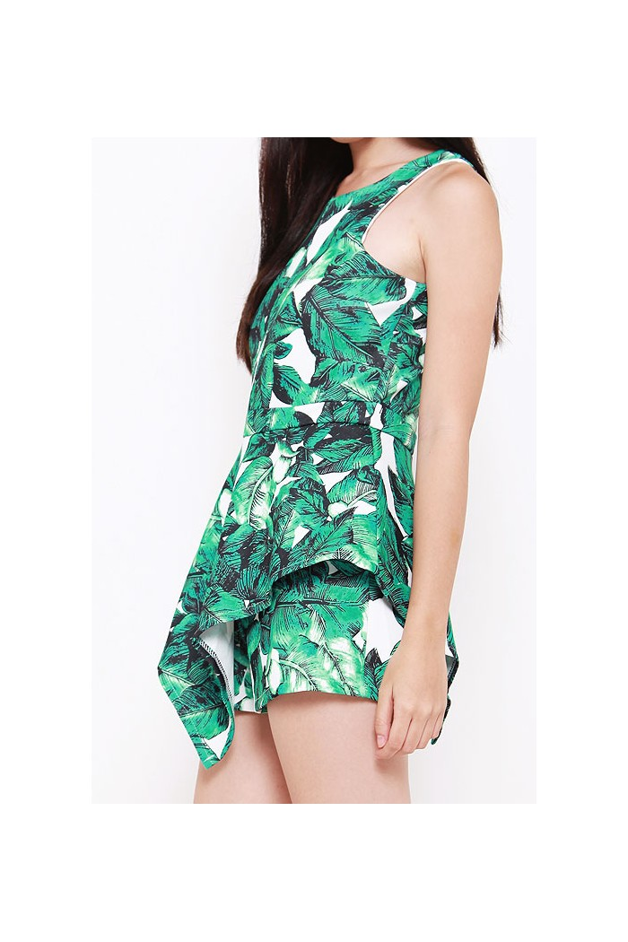 83bbe59bcee6 Palm Leaves Peplum Romper - The Label Junkie