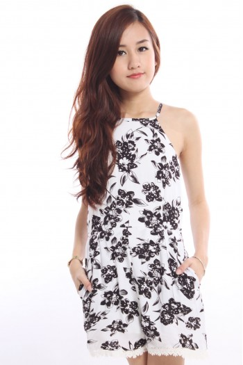 Square-Neck Floral Playsuit