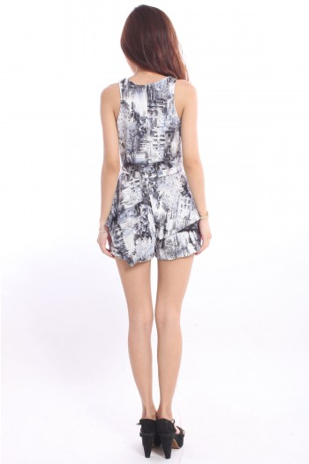 Abstract Painting Drape Romper