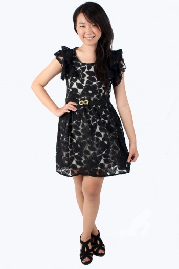 Flutter sleeved lace dress