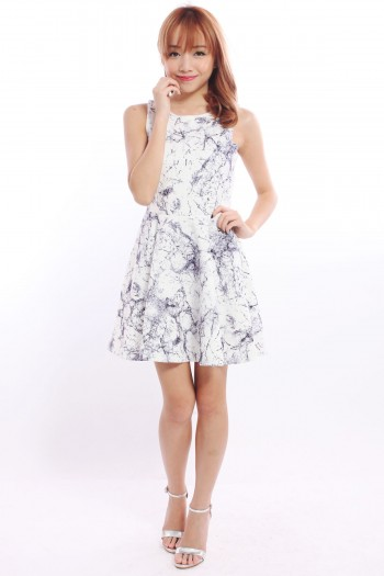 Marble Keyhole Skater Dress