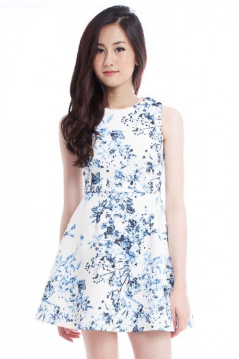 *Premium* Porcelain Abstract Skater Dress