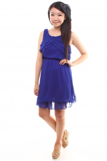 Ruffled Bib Chiffon Dress