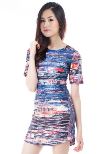*Premium* Abstract Strokes Shift Dress