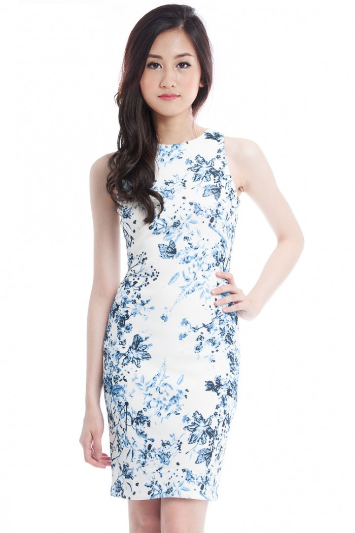 *Premium* Porcelain Midi Shift Dress - The Label Junkie