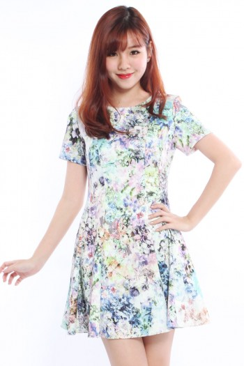Floral Pleated Skater Dress (BO)