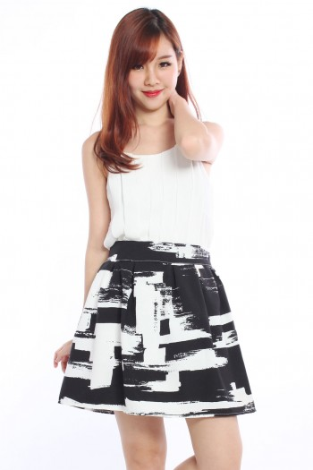 Paint Strokes Skater Skirt