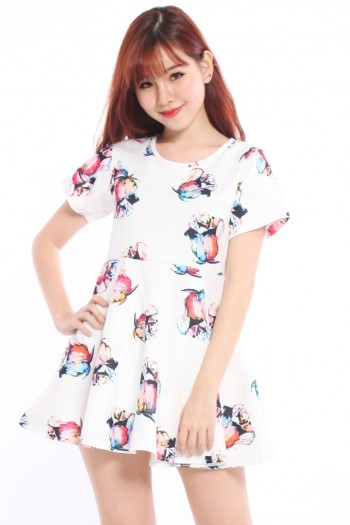 Sleeved Roses Skater Dress