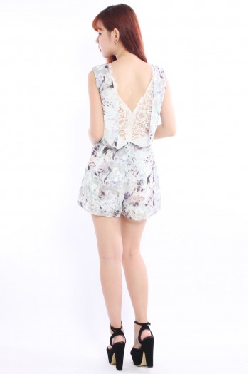 Lace Back Tropic Romper