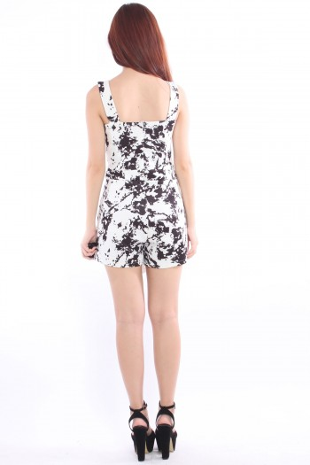 Abstract Splatter Wrap Skorts Romper