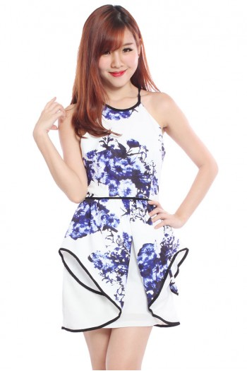 Floral Origami Peplum Dress