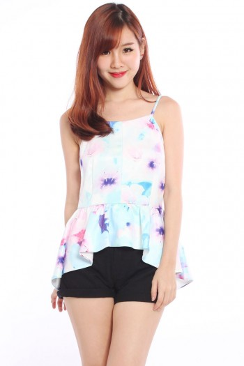 Abstract Watercolour Asymmetric Peplum Top