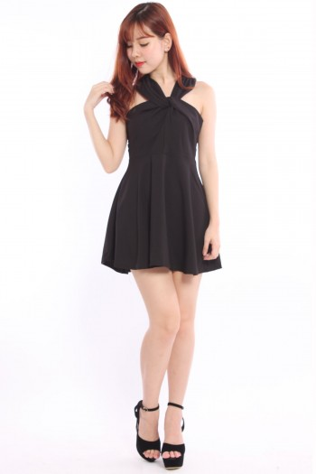 Twisted Neckline Skater Dress
