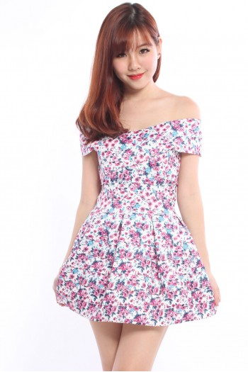 Off Shoulder Floral Bandage Dress