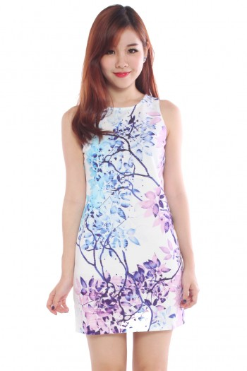 Watercolour Ombre Foliage shift Dress