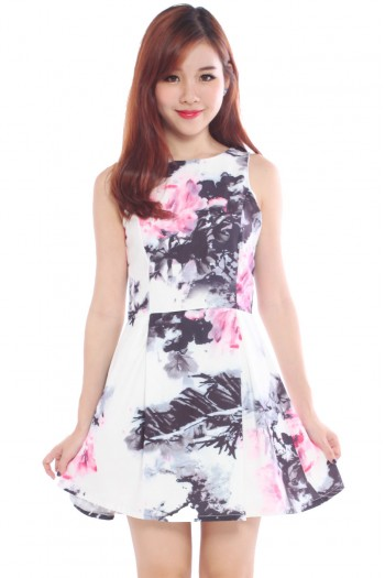 Watercolour Calligraphy Swirls Skater Dress