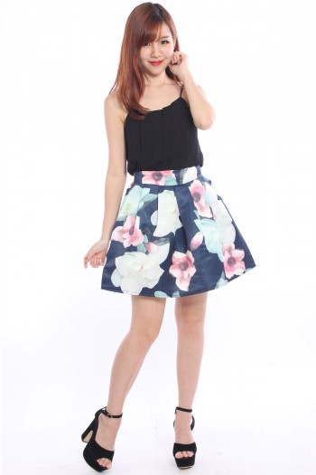 Satin Pleated Floral Skirt