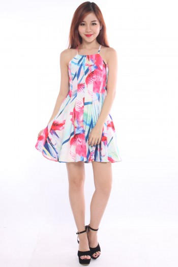 Abstract Criss-Cross Bow Back Dress