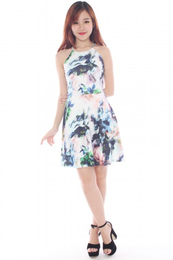 *Premium* Abstract Watercolour Halter Dress