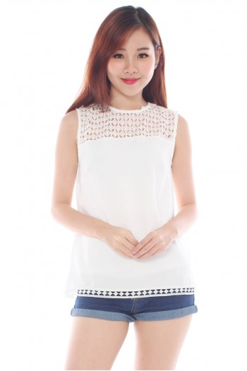 Crochet Eyelet Trim Top