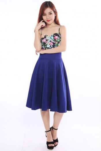 Neoprene Midi Pleated Skirt