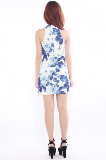 High Neck Origami Floral Dress