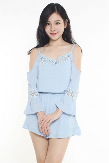 Cold-Shoulder Crochet Trim Romper