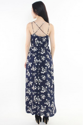 Criss-Cross Back Floral Slit Maxi