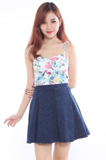 Sweetheart Floral Bustier Top
