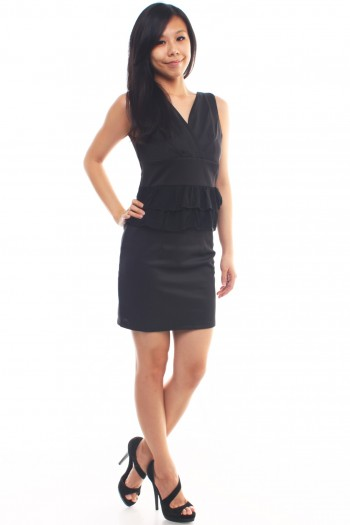 V-neck Ruffled Work Dress