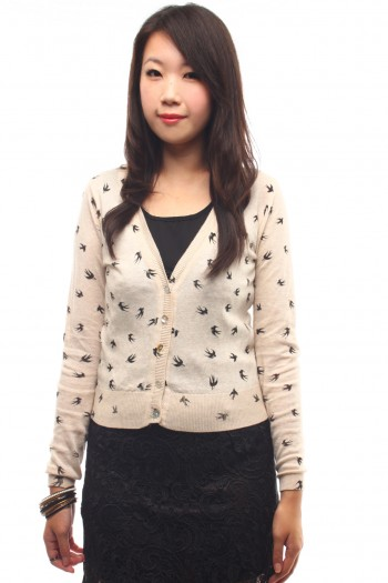 Swallows Print Cardigan