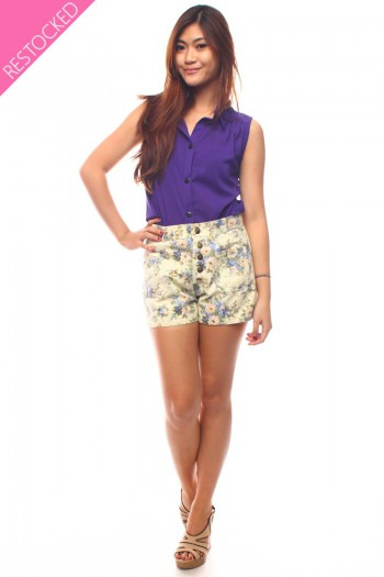 Floral Button High Waist Shorts