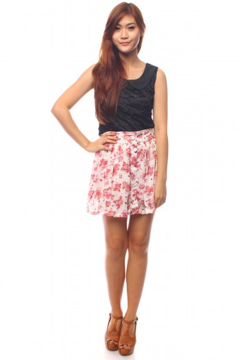 Floral Button Skirt