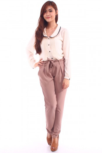 High Waist Pants in Taupe