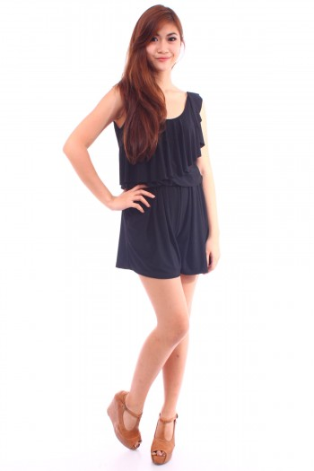 Asymmetric Ruffled Romper