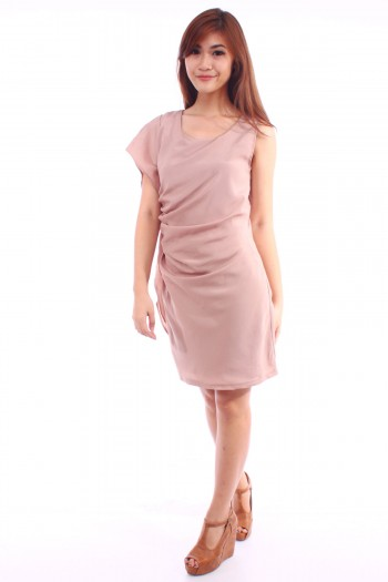 Asymmetric Ruched Dress