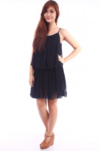 Pleated Overlay Dress