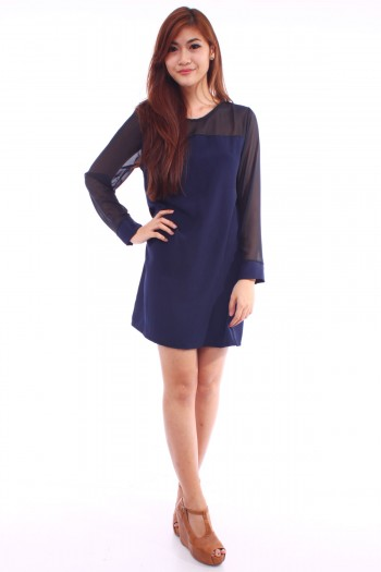 Long Sleeves Mesh Shift Dress