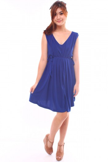 Pleated Side-Tie Dress