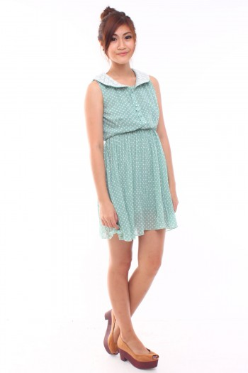Lace Collar Polkadot Dress