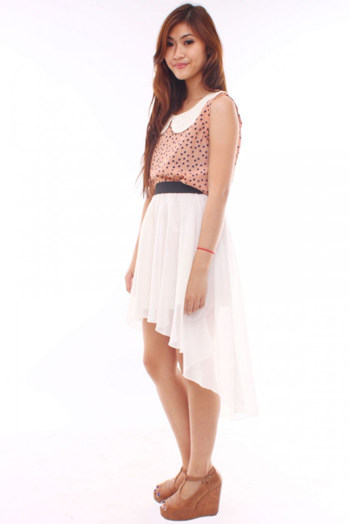 White mullet dress from Tufi Duek featuring a v-neck, spaghetti straps and a relaxed shape.