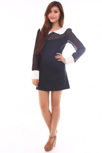 Peterpan Collar Mesh Shift Dress
