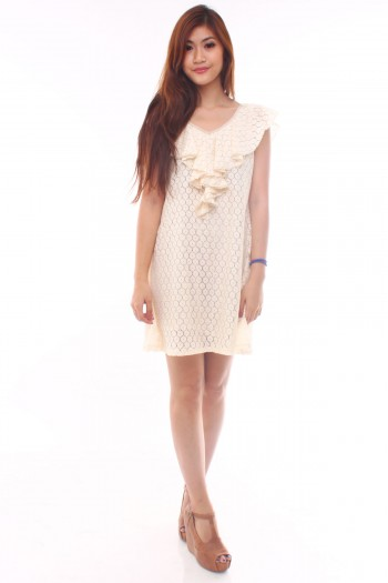 Reversible Ruffled Lace Dress