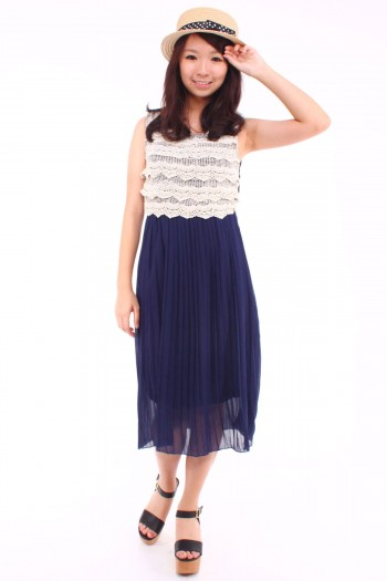 Crochet Tier Pleated Midi