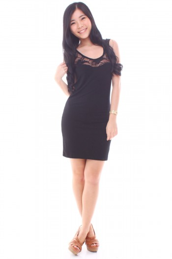 V-Back Lace Bodycon Dress