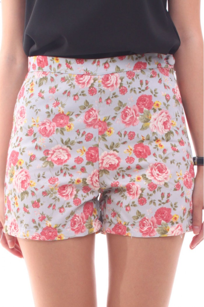 High Waisted Shorts Floral - The Else
